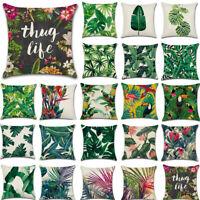 """18"""" Tropical Plant Cushion Cover Waist Throw Pillow Case Home Sofa Car Decor"""