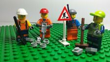 lego minifigures city road workers with accessories