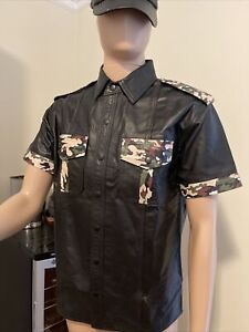 Leather Shirt Cop Policeman Military Style Camo Uniforms LeatherLust Size L