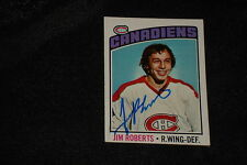 JIM ROBERTS 1976-77 TOPPS SIGNED AUTOGRAPHED CARD #119 CANADIENS