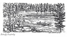 Canoe On Wooded Lake, Wood Mounted Rubber Stamp New NORTHWOODS - O7418