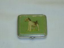 Antique Art Deco Enamel Painted Wire Fox Terrier Dog Powder & Rouge Compact