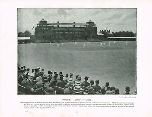 Middlesex v Surrey Lord's County Cricket Antique Old Picture Print 1896 TQL#69