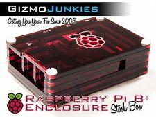 Raspberry Pi 2, 2B & B+ Plus Sliced Acrylic Case Trans Enclosure Box Red Ember