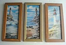 3 T C Chiu Art Lighthouse Deserted Beach Ocean Wood Frame Print Painting