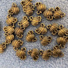 Antique Bronze Small Pumpkin Alloy Metal Charms 16 Pieces 9mm x 10mm  #0533