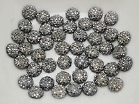 500 Black Silver Round Flatback Resin Dotted Rhinestone Gem beads 6mm