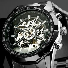 New Men's Skeleton Stainless Steel Automatic Mechanical Sport Wrist Watch Silver
