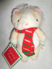 "Christmas Cat 1990 Gibson Greetings VTG Santa Paws 7"" Plush Santa Hat Scarf"
