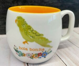 Barrel Cup Mug Opalhouse Hola Bonita Parrot Coffee Tea Hello Beauty Orange Insid
