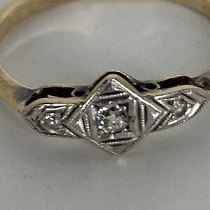 Vintage 9 Carat Yellow Gold Ring Diamond Three Stone Ring