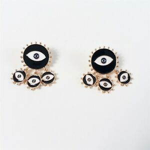 All seeing Evil Eye Protection Statement Lucky Earrings Black White Gold Tone