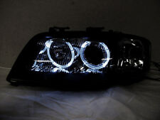 Depo 02-04 Audi A6 C5 White LED Halo Black D2S HID Xenon Projector Headlight