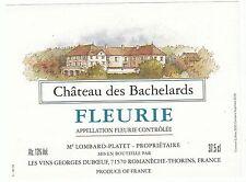 ETIQUETTE DE VIN DE FRANCE   FLEURIE   CHATEAU DES BACHELARDS