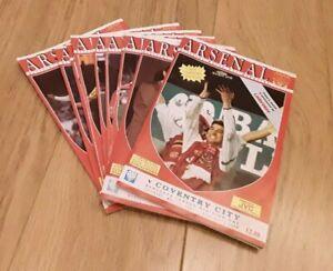 Arsenal 1990/91 Championship Season selection of Home League Programmes Away A-L