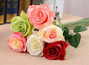 2020 Head Real Touch Latex Rose Flowers For Wedding Bouquet Decoration 6 Colors@