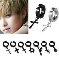 Unisex Titanium Steel Non-Piercing Ear Clip On Stud Dangle Cuff Hoop Earrings