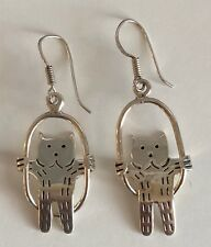 Vintage Signed Silverbird Brand French First (950) Silver Cat on Swing Earrings