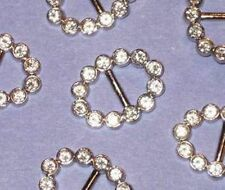RHINESTONE Lot 6 OVAL New Vintage SLIDES Buckles SILVER METAL 1""