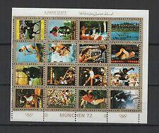 J.O. de München 72 Ajman State  une feuille 16 petits timbres oblitérés/ T1461