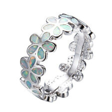 Blue/White Fire Opal Flower Ring Wedding Band 10KT White Gold Filled Jewellery