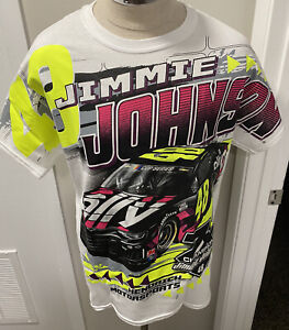 7X Nascar Champion Jimmie Johnson Ally Financial Men's Large White Graphic Shirt