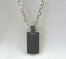 Dyrberg/kern of Denmark Stainless Steel & Silver Plated, Black Enamel Necklace