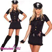 New Ladies Woman Black Cop Police Uniform Party Fancy Dress Costume Outfit