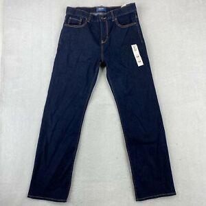 NWT Old Navy Straight Jeans Boys 14 Husky Dark Navy Adjustable Waist High Rise