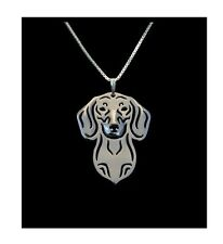 Short Hair Daschund Dog Canine Collection Silver Tone Metal Pendant Necklace
