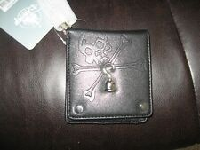 Disney Store Men's Black Pirate Wallet With Silver Hood Silver Hardware Nwt