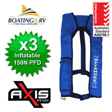3 x PFD Manual Inflatable Life Jacket Axis Offshore 150N BLUE Lifejackets
