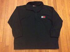 Vintage 90s Tommy Hilfiger Black Fleece Jacket Pullover 2XL Flag Logo
