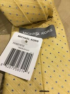 Michael Kors 100% Silk Platinum Yellow With Blue Dots NeckTie Luxury NWT $59