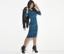 BNWT Club L Maxi 3/4 Sleeve Aztec Midi Turquoise Blue Print UK Size 8