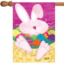 NEW Toland - Basket Case - Bright Colorful Easter Bunny Rabbit Egg House Flag