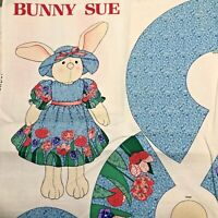 """Cut and Sew Bunny Sue Doll Fabric Panel with Pattern Cranston 23"""" Rabbit Doll"""