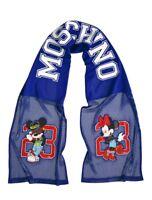 H&M X Moschino Disney Mickey Minnie Jeremy Scott Logo Mesh Blue Scarf B10