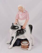 "RARE Royal Doulton Figurine Country Maid HN3163 Country Maid Feeding a Calf 8.5"""