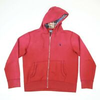 Vintage Polo Ralph Lauren Sweatshirt Hoodie Sun Faded Red Talon Zipper LARGE