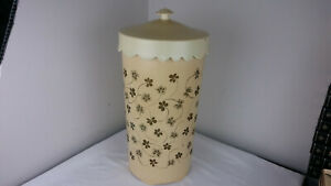 Vintage 60s Wolff Tan Plastic Floral Retro Mid Century Laundry Hamper