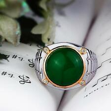 Men Green Round Original Jade Ring in 925K STERLING SILVER with Natural DIAMONDS