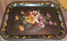 Vintage Black Metal Tole Hand Painted Large Tray Shabby Cottage French Country