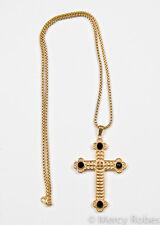 "Clergy Pectoral Cross w/Chain (SBATS001 G-B), Black Stones, 36"" Chain, Christian"
