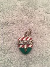 BRIGHTON Candy Cane Heart Dangle Christmas Charm....Hinged With Holiday Star