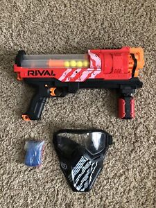NERF Gun - RIVAL ARTEMIS XVII-3000 RED w/ Ammo, Strap, & Face Mask Shield Lot