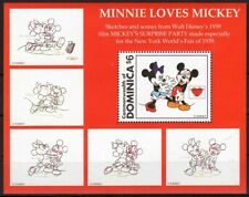 DOMINICA 1997 MINNIE LOVES MICKEY SKETCHES ANIMATION CARTOONS DISNEY STAMPS MNH