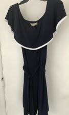Michael Kors Women's Size s Navy White Belted A-Line Collar Dress NWT