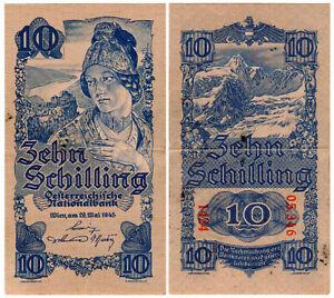 Austria 10 Schilling P#114 (1945) Oesterreichische Nationalbank VF