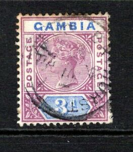 Gambia QV 1898-1902  3d. Reddish Purple & Blue SG41 Used